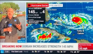 Screenshot of The Weather Channel with Jim Cantore and a Hurricane Dorian graphic.